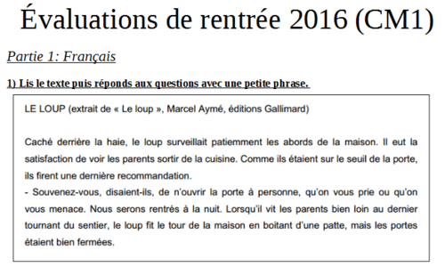 Evaluations de rentrée 2016