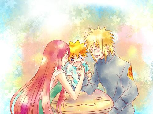 Kushina,Naruto et Minato