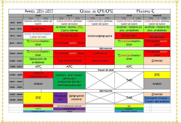 emploi du temps - classe de CM1/CM2 2014-2015 version 4 jours1/2