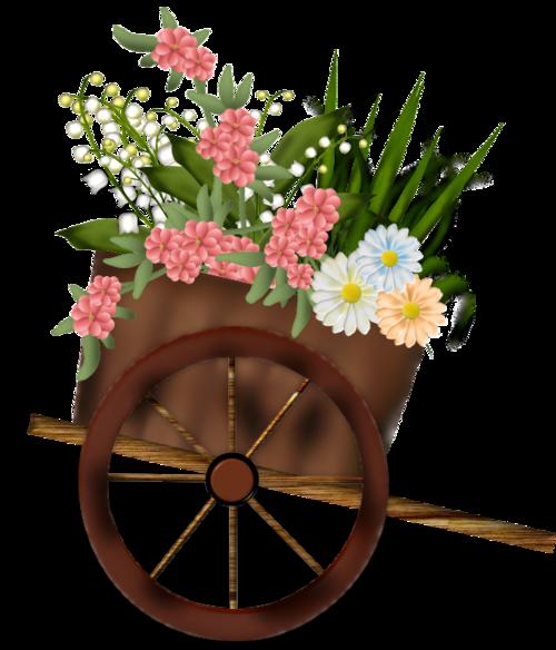 charrette fleurie