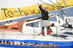 Finish arrival of Sebastien Destremau (FRA), skipper Technofirst Face Ocean,18th of the sailing circumnavigation solo race Vendee Globe, in Les Sables d'Olonne, France, on March 10th, 2017 - Photo Olivier Blanchet / DPPI / Vendee GlobeArrivée de Sebastien Destremau (FRA), skipper Technofirst Face Ocean, 18ème du Vendee Globe, aux Sables d'Olonne, France, le 10 Mars 2017 - Photo Olivier Blanchet