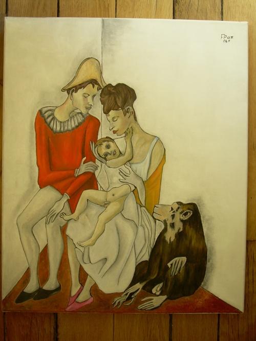 La Famille de l'Arlequin. (peinture à l'huile)