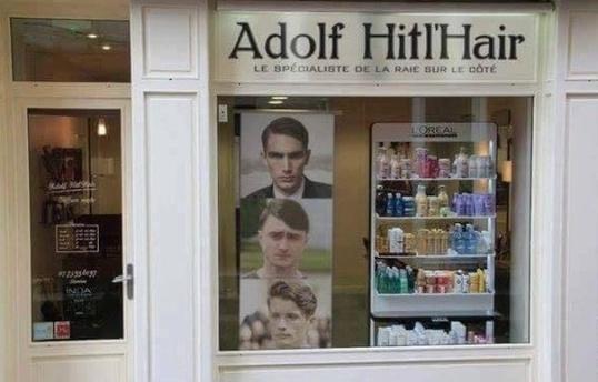 Le faux salon de coiffure Adolf Hitl'Hir de la rue des Juifs à Strasbourg créé par le site parodique et satirique Nordpresse.