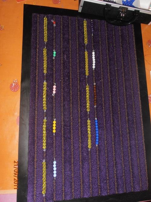 Les quantités de 11 à 19 en perles