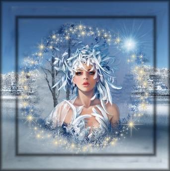 cadre bleu neige