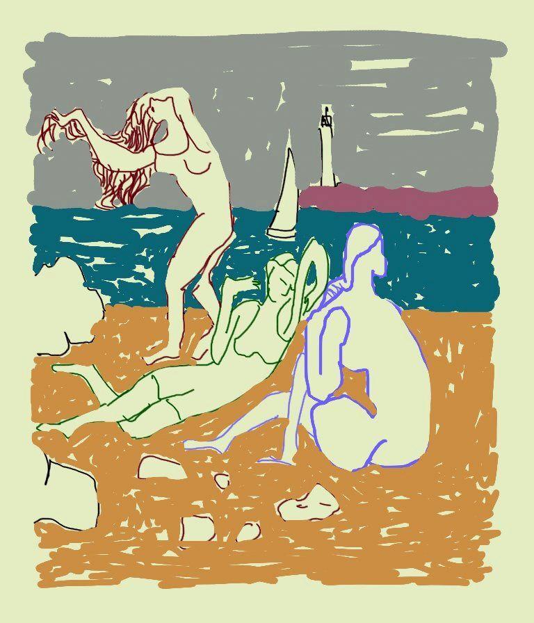dessin sur les baigneuses de Picasso