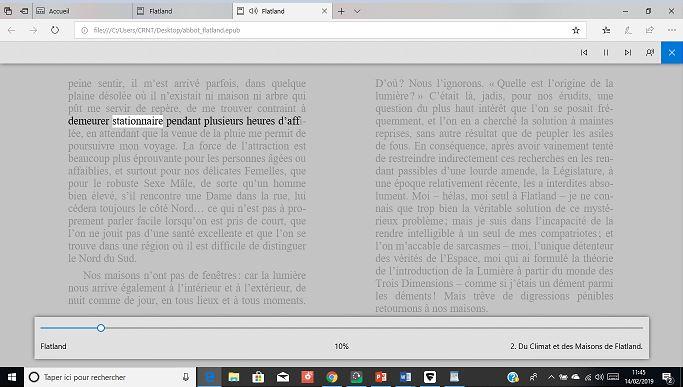 Lire un eBook par voix de synthèse depuis le navigateur Edge