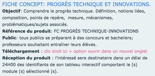 FICHE CONCEPT - PROGÈS TECHNIQUE ET INNOVATIONS