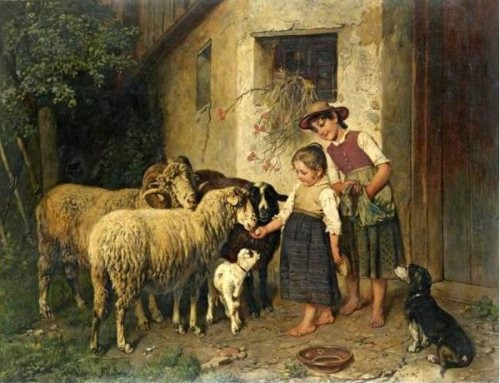 adolf-eberle-feeding-the-sheep
