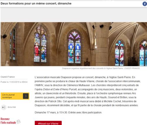 Concert Eglise Noyal-sur-Vilaine avec le Choeur de Haute Vilaine puis l'orchestre Ars Juvenis