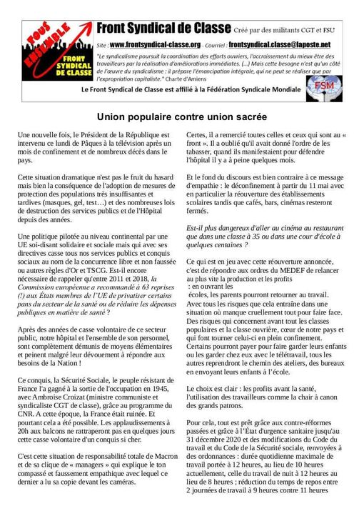 Union populaire contre union sacrée – par le Front Syndical de Classe (17/04/20)