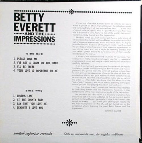 "1969 : Album "" Betty Everett & The Impressions "" United Superior Records 7702 [ US ]"