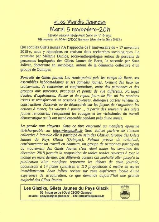 """""""Mardis Jaunes"""" à Quimper-A l'occasion de l'an I du mouvement-Que sont les Gilets Jaunes ?-Mardi 5 novembre-20h-Espace associatif"""