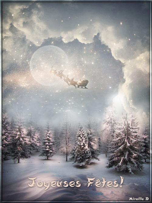 Carte de Joyeuses Fêtes par une Nuit de Noël Magique