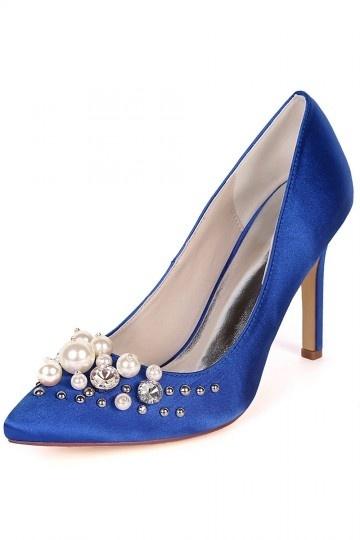 escarpin bleu orné de strass & bijoux pour soirée