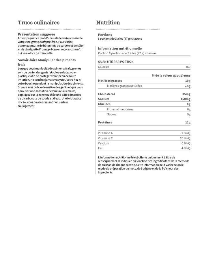 Recettes:  Ailes de poulet au piment doux (2 pages)