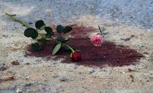 Des roses déposées sur une tache de sang au lendemain de l'attaque du musée d Bardo, le 19 mars 2015 à Tunis