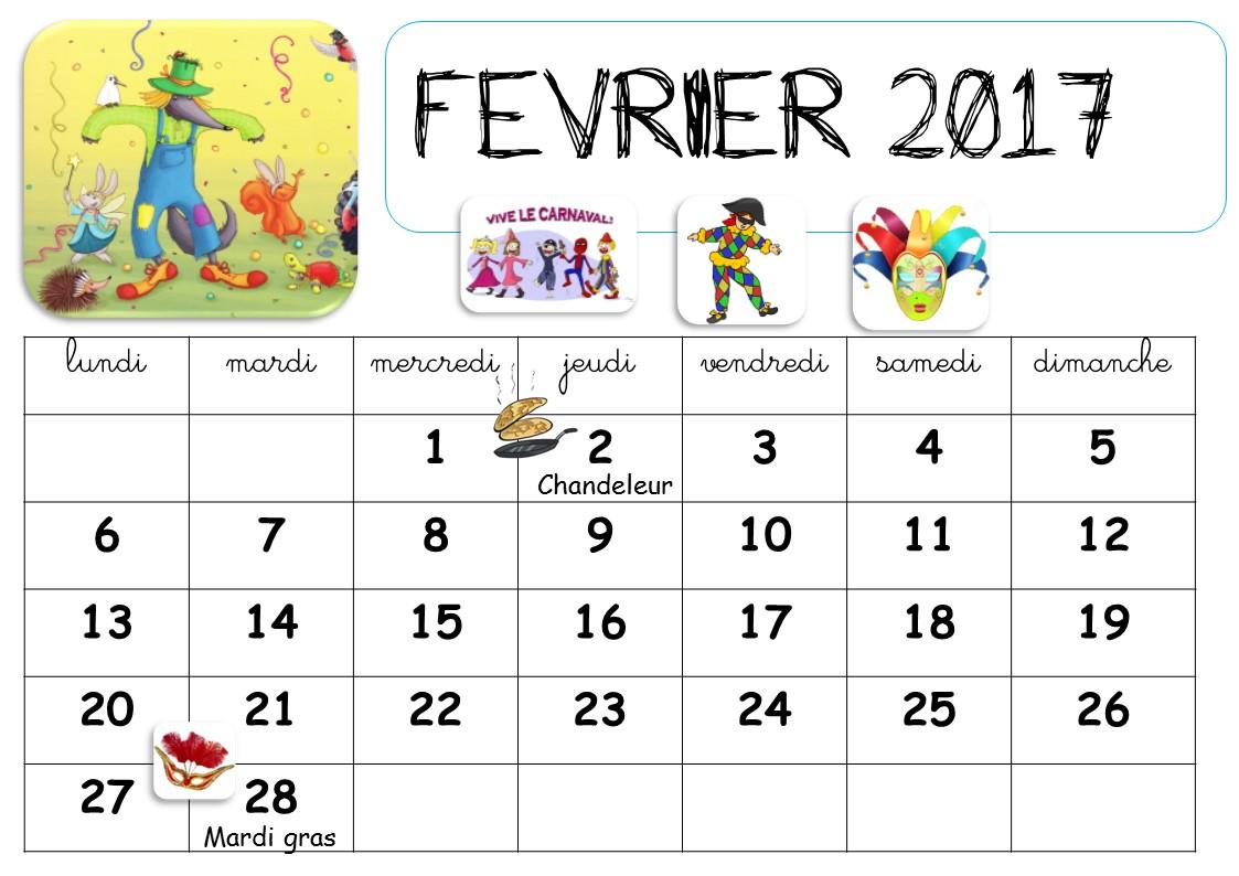 calendrier a imprimer pour la classe