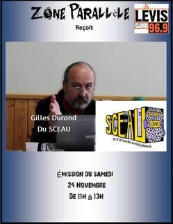 Gilles Durand sur Zone Parallèle le 24 novembre