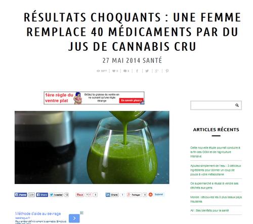 Elle remplace 40 médicaments par du jus de cannabis cru ...