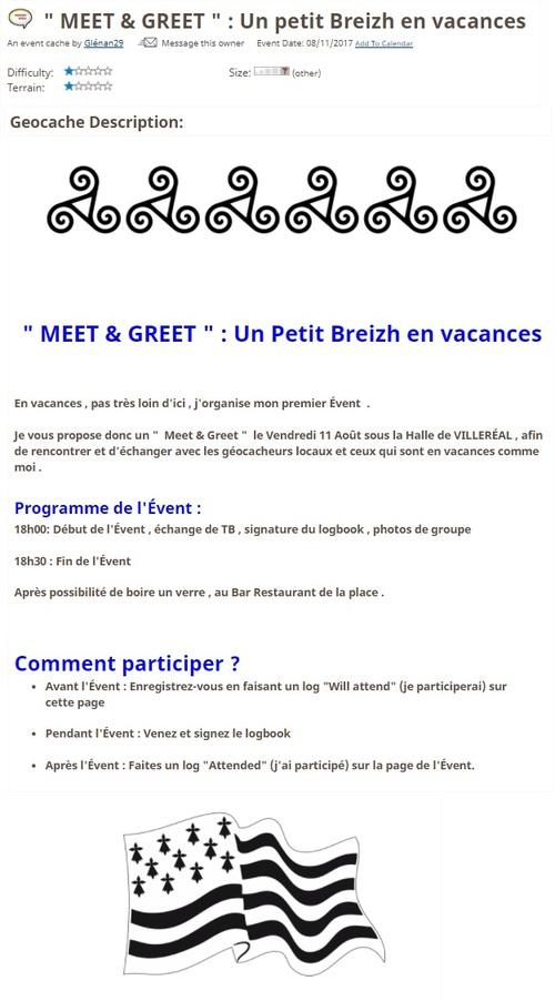 """11 août 2017 - """" MEET & GREET """" : Un petit Breizh en vacances"""