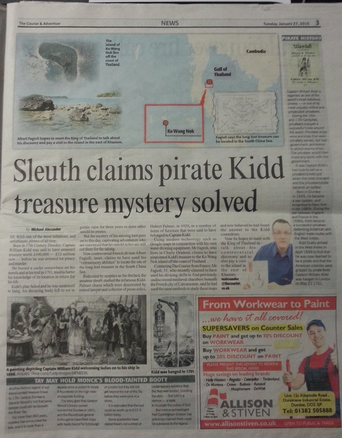 "The Courier, "" Diviner claims he has discovered Captain Kidd's long lost treasure island "", le 27 janvier 2015. (Michael Alexander)"