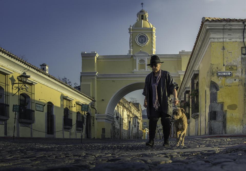 Antiguaguatemala, Guatemala, Rues, Chien, Chapeau, Arc