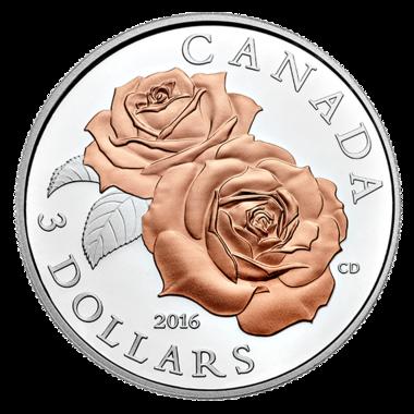 CANADA UNE PIECE DE 3 DOLLARS ROSIER QUEEN ELIZABETH
