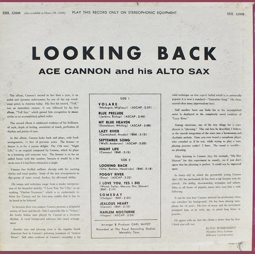 "Ace Cannon & His Alto Sax : Album "" Looking Back "" Hi Records SHL 32008 [ US ]"