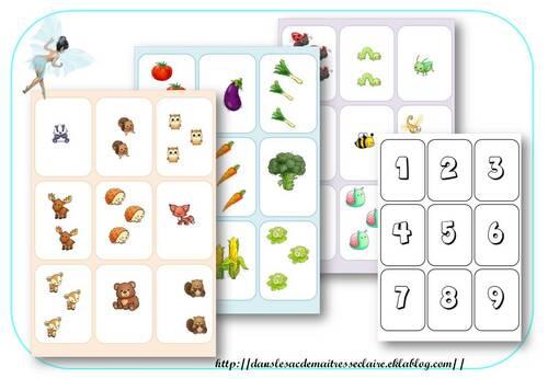 planche association de quantité et différentes représentations du nombre