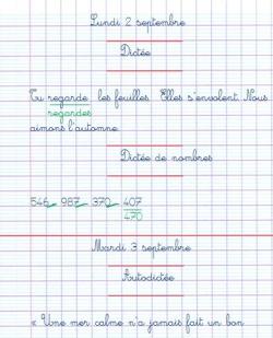 Page présentation cahier du jour