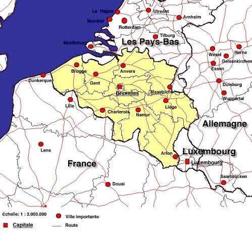 carte belgique voisins
