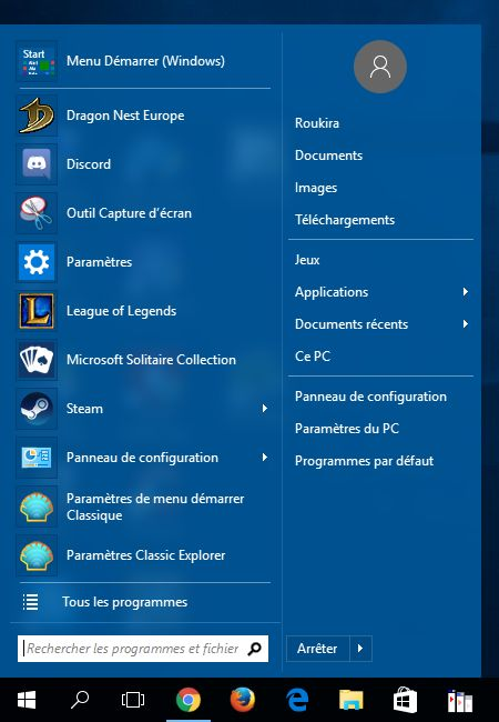 Comment remettre l'ancien menu démarrer de Windows 7 dans Windows 8.1 et Windows 10 , avec Classic Shell