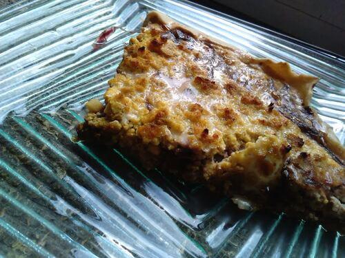 Tartes à l'oignon rouge/miso et tofu au curry