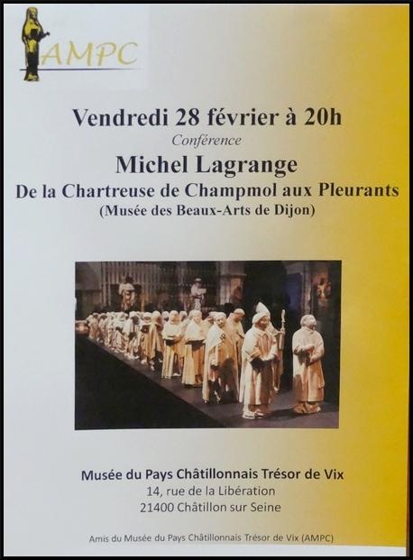 """"""" De la Chartreuse de Champmol aux pleurants"""" une conférence de Michel Lagrange pour l'AMPC"""