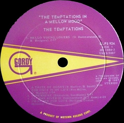 "The Temptations : Album "" In A Mellow Mood "" Gordy Records GLPS 924 [ US ]"