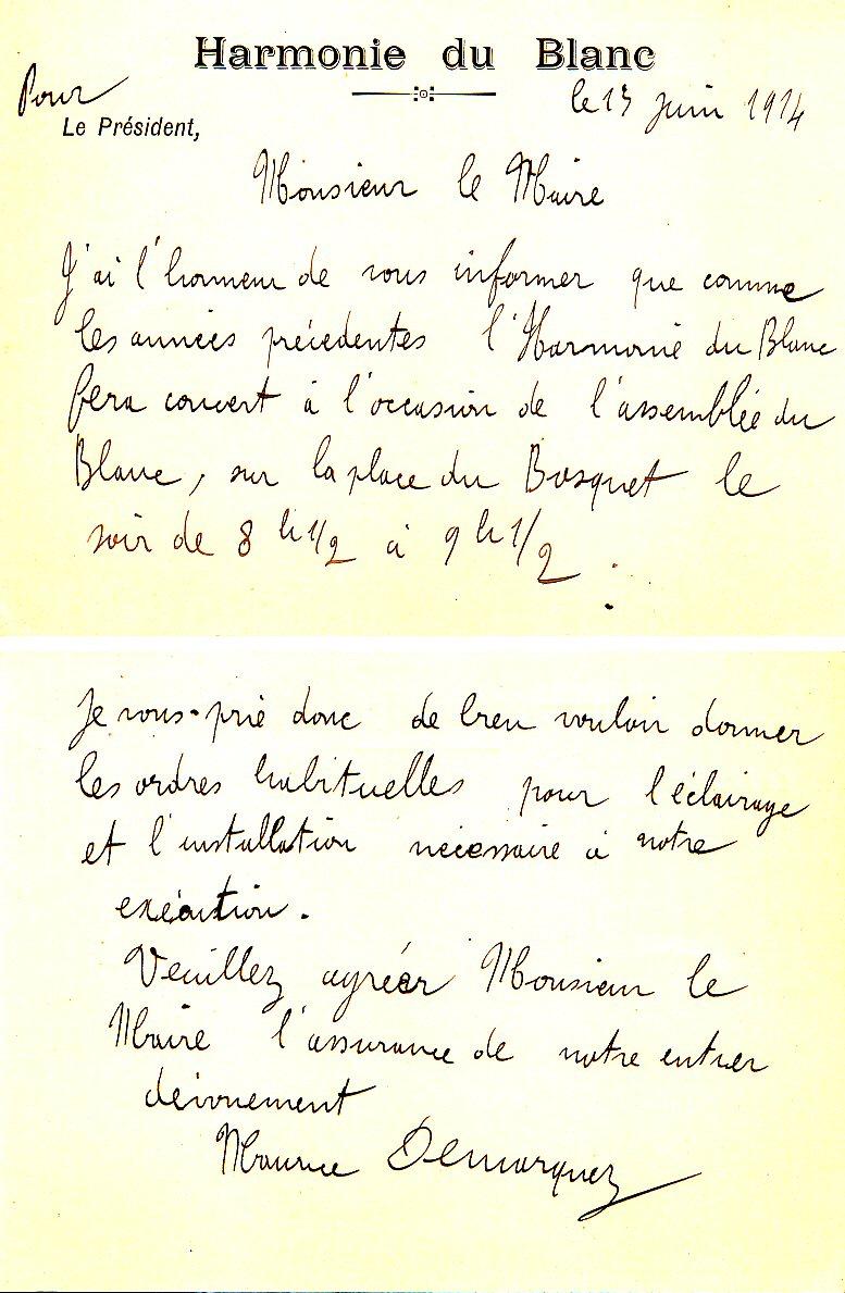 AM Le Blanc - série H - 13 juin 1914