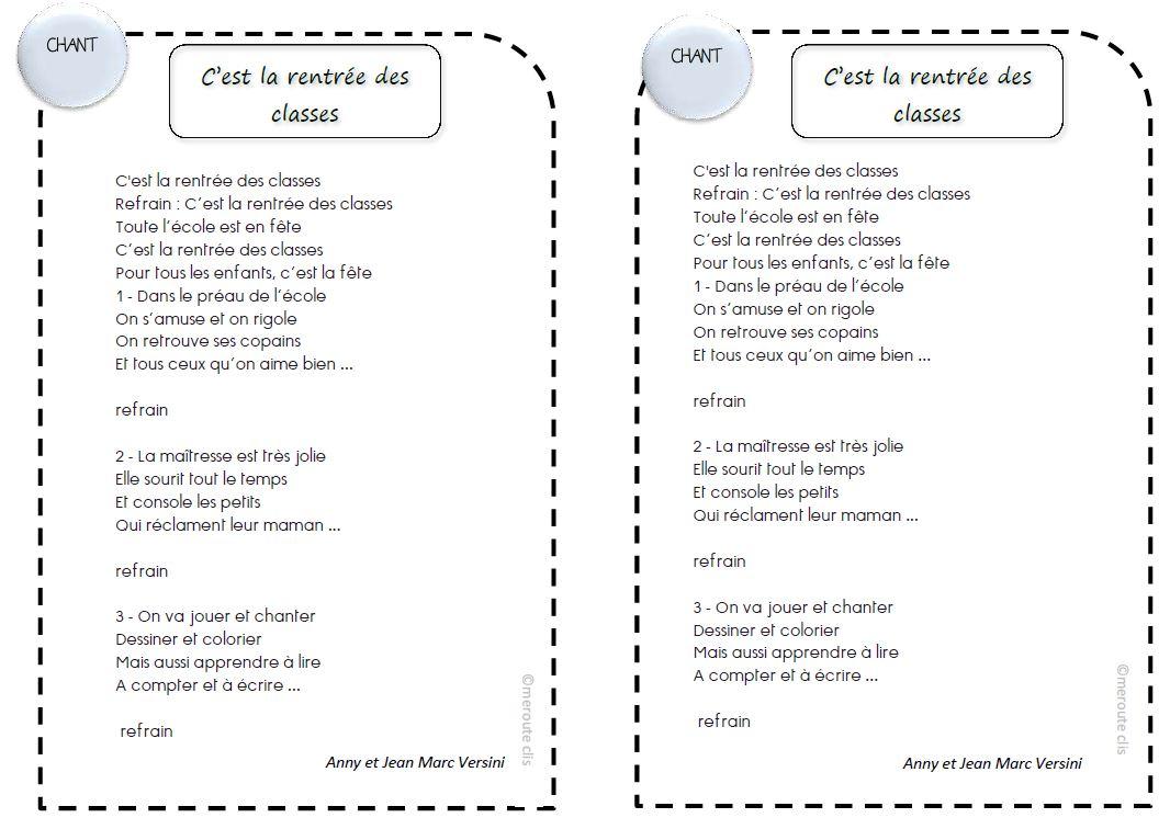 Berühmt Chant: c'est la rentrée des classes (versini) - ☆Meroute en clis☆ RU84