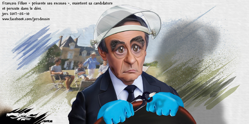 dessin de JERC vendredi 10 février 2017 caricature François Fillon Il nous présente ses excuses, on lui présente l'addition !!! www.facebook.com/jercdessin en plus grand en cliquant sur l'image