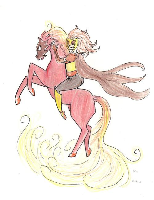 cheval de feu & cavalier fantastique