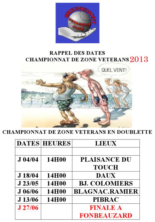 CHAMPIONNAT DE ZONE VÉTÉRANS 2013.