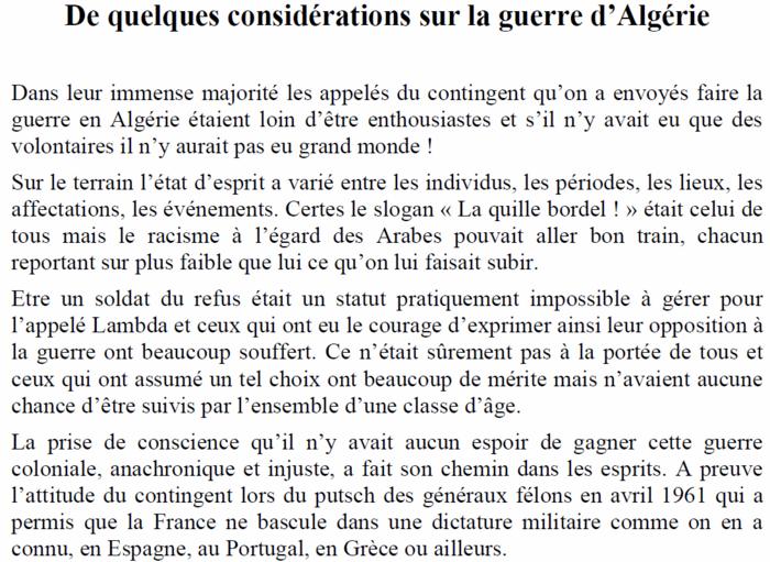 L'Espace National Guerre d'Algérie (E.N.G.A.) présente le témoignage de Jacques Cros