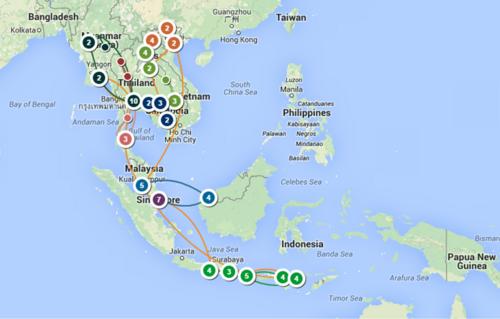 Le parcours de notre voyage en Asie du Sud-Est