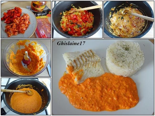Cabillaud sauce chorizo & poivron rouge
