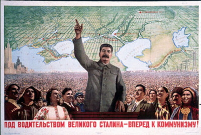 Stalin-poses-ad-demagod-WW2-Propaganda-Poster
