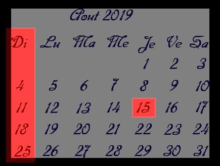 Calendrier + matrices pour le mois d'Août 2019