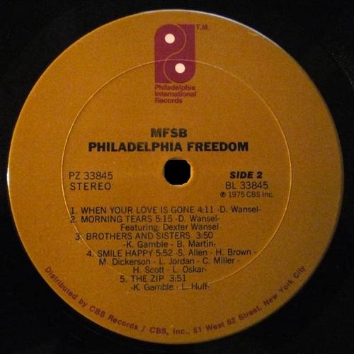 "1975 : MFSB : Album "" Philadelphia Freedom "" Philadelphia International Records PZ 33845 [ US ]"