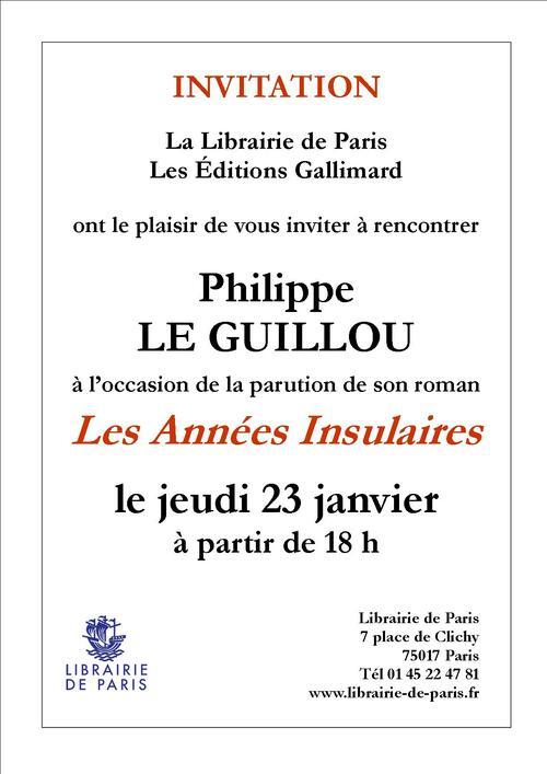 Philippe Le Guillou Librairie de Paris le 23 janvier 2014