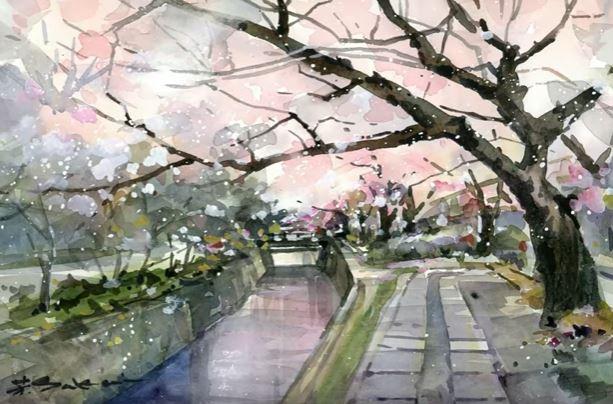 Dessin Et Peinture Video 3114 Peindre Des Cerisiers En Fleurs Du Japon Aquarelle Lapalettedecouleurs
