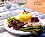 Cabillaud sauce au vin rouge et sa poële d'asperges